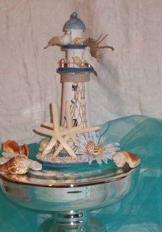 Nautical Lighthouse Starfish Cake Topper Up Cycled Wedding