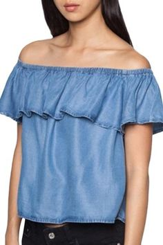 Oasap.com - oasap Casual Off Shoulder Denim Flounce Tee - AdoreWe.com