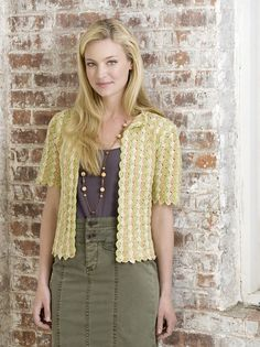 This versatile crocheted shell stitch cardi was first presented in 1941 in a Red Heart booklet called New Sweaters. Crochet it as shown in our updated version using three soft colors or make it all one shade. --- Ravelry: Manhattan Cardigan pattern by Julie Farmer (free crochet pattern)
