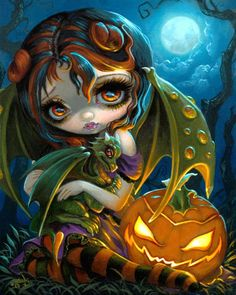 Halloween Dragonling - pumpkin dragon fairy by Jasmine Becket-Griffith - Halloween Jack o ' Lantern with a Dragonling from the KC Renfest 2017