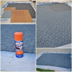spraying_paint_rug with stencil, Thompson's water seal for fabric over to seal, Infarrantly Creative