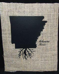 Burlap frame-able art - Arkansas Roots