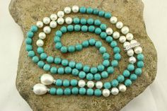 C-N79  40'' Turquoise NecklacePearl by tongtongpearls on Etsy