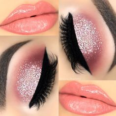 Popular Glitter Makeup Ideas to Rock the Party picture 2 Christmas makeup looks exceptional whether it is subtle or very bright. Check out our 48 holiday makeup ideas and choose the one that works best for you. Makeup Eye Looks, Cute Makeup, Glam Makeup, Party Makeup, Makeup Inspo, Makeup Inspiration, Makeup Ideas, Gorgeous Makeup, Makeup Geek