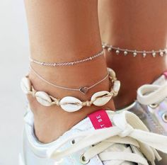 Anklet Tocona Summer Beach Heart Shell Rope Layered Anklets for Women String Shell Pendant Anklet Bracelet Barefoot Jewelry 6974 - Foot Bracelet, Shell Bracelet, Anklet Bracelet, Shell Jewelry, Cute Jewelry, Beach Jewelry, Bridal Jewelry, Women's Anklets, Beach Anklets