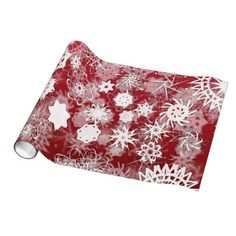 #Red #Snowflakes #Holiday #WrappingPaper #GiftWrap #snow #Christmas #Xmas