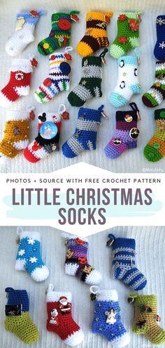 Little Christmas Socks Free Crochet Pattern Little Christmas Socks will surely . - Knitting patterns, knitting designs, knitting for beginners. Crochet Diy, Crochet Socks, Learn To Crochet, Crochet Gifts, Knitting Designs, Knitting Projects, Crochet Projects, Knitting Patterns, Diy Projects