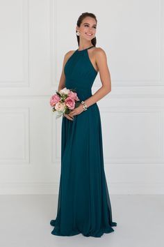 Chiffon High-Neck Ruched Long Teal Dress by Elizabeth K Bridesmaid Dresses teal bridesmaid dresses Elegant Bridesmaid Dresses, Formal Dresses, Teal Dresses, Flower Girl Dresses Teal, Peacock Bridesmaid Dresses, Formal Prom, Charro Dresses, How To Dress For A Wedding, Wedding Dress