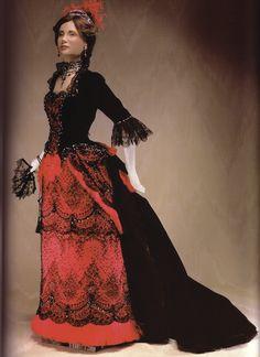 1883 gown from book Les Petites Dames de Mode by John Burbidge 1800s Fashion, 19th Century Fashion, Victorian Fashion, Vintage Fashion, Vintage Gowns, Vintage Outfits, Beautiful Gowns, Beautiful Outfits, Bustle Dress