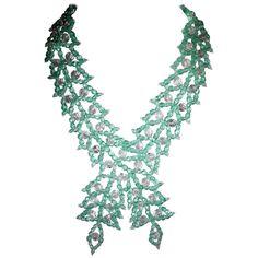 Vintage 1950s Coppola e Toppo Italy Aquamarine Glass Criss/Cross Bib Necklace 1