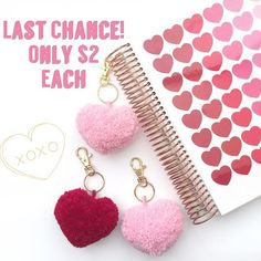 Missed out on yesterday's Two Dollar Tuesday? Here is your last chance to get the Valentine's Day Heart Shaped Pom Pom keychain in the limited edition colors: Cherry Red or Petal Pink. Either one of these can be used year round and retail for $5.25 each! No coupon code required and shop link is in my bio. The shop will be going on vacation tonight to make and get these out as soon as possible. 💕💕💕