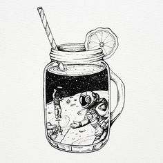 Your audience might just see a mason jar with a slice of lemon. You want them to see the game of frisbee on the moon. Tell them your story and theyll drink it right up. leMOONade by Space Drawings, Cool Art Drawings, Art Sketches, Ink Illustrations, Art And Illustration, Pinterest Sketches, Stippling Art, Ink Art, Doodle Art