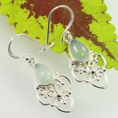 925 Sterling Silver Natural CHALCEDONY Gemstones Handcrafted Beautiful Earrings #SunriseJewellers #DropDangle