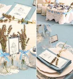 Decoración boda romántica azul y lavanda