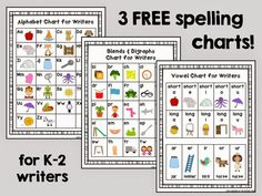 I put these spelling charts in my kids' writing folders to help them work more independently!  Click here to get an alphabet chart, digraph chart, and vowel chart for FREE:  http://learningattheprimarypond.com/first-grade/writing-folder-tools-for-k-2/