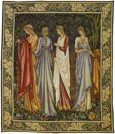 The Ladies of Camelot Medieval Tapestry - Pansu. Magic, myth, romance and excitement abound with The Ladies of Camelot (Des Dames de Camelot) and The Knights of The Round Table in this beautiful Med. Medieval Tapestry, Medieval Art, Tapestry Weaving, Tapestry Wall Hanging, Wall Hangings, William Morris, King Arthur Legend, Large Tapestries, Art Textile