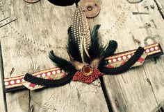 Wine red, black and gold feather headband flapper by byRK on Etsy https://www.etsy.com/listing/240468485/wine-red-black-and-gold-feather-headband