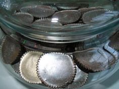 Our custom hand painted Peanut Butter Cups in silver
