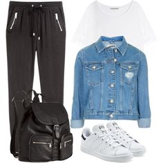 Airport #1 by lovelyeleanorstyle on Polyvore featuring polyvore, fashion, style, Acne Studios, Topshop, H&M, adidas Originals and clothing