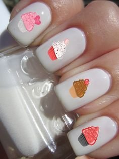 Cupcake Nail Decals Set of 12 by DulceGems on Etsy, $3.00