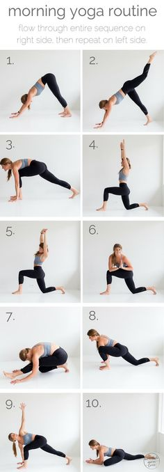 10 morning yoga poses pin --- www.nourishmovelove.com Más