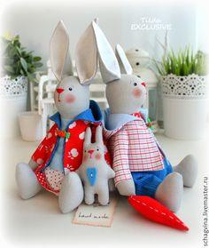 Купить Семья Зайчиков - зайка, зайчик, заяц тильда, заяц, кролик, кукла Тильда, влюбленный