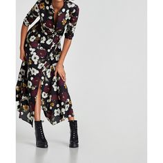 FLORAL DRESS WITH POLKA DOTS - Midi-DRESSES-WOMAN-SALE | ZARA United... ($50) ❤ liked on Polyvore featuring dresses, floral print midi dress, flower print midi dress, flower printed dress, polka dot midi dress and floral midi dress