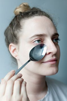 Get Rid of Puffy Eyes. On late nights and early mornings, keep a spoon in the freezer overnight so it gets nice and frosty. When you wake up, press the cold spoon against your under eye area for about 30 seconds and then repeat on the other eye.