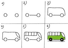 Sketching Bus zeichnen Drawing Bus Drawing for kids Sketching Zeichnen Basic Drawing For Kids, Drawing Lessons For Kids, Drawing Tutorials For Kids, Easy Drawings For Kids, Art For Kids, Simple Drawings, Bus Drawing, Art Drawings, Step By Step Drawing