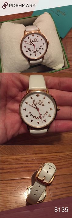 Kate Spade Hello Sunshine Watch Beautiful KS watch with a white leather band! New in box, with protective cover still on watch face. No trades. kate spade Accessories Watches