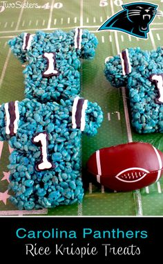 These Carolina Panthers Rice Krispie Treats Team Jerseys are a fun dessert for a game day football party, an NFL playoff party, a Super Bowl party food or as a special snack for the  Carolina Panthers fans in your life.  For more fun Rice Krispie Treats ideas follow us at http://www.pinterest.com/2SistersCraft/