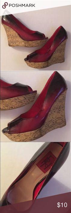"💝FRH Peep Toe Wedges Shoes Red FRH Peep Toe Wedges Shoes Red  FRH Peep Toe Wedges Shoes  Dark Red  Fauc Reptile Look Platform Wedge  5"" heel. 1.5"" Platform  Size 9  Great condition.  Smoke free home FRH Shoes Wedges"