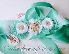 Maternity sash , pregnancy sash , aqua and white maternity sash  by Cutiesdressup on Etsy