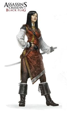 Concept art from Assassin's Creed IV: Black Flag: Orchid Mais Female Character Design, Character Art, Fantasy Characters, Female Characters, Assassins Creed Black Flag, Assassins Creed Female, Pirate Woman, Lady Pirate, Viking Woman
