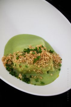 Chef Hugo Nascimento, of Tasca da Esquina #Lisbon Dogfish in a spiced pea purée with crushed nuts and chives. A perfect blend of spices that didn't overpower the sweet pea flavor. The fish was firm, fleshy and went well with the purée. Peixe em Lisboa 2013 - Part two