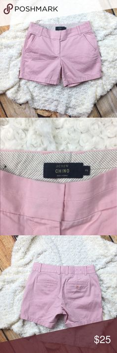 J. Crew Chino Shorts Pink J. Crew Chino shorts. Two pockets in the front and back. Hook and zipper closure. J. Crew Shorts