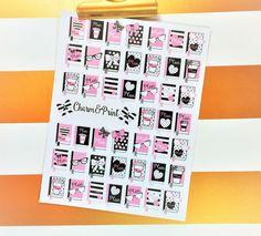 Pink & Black Planner Stickers / Erin Condren / Kikki K / FiloFax / 45 Count by CharmandPrint on Etsy https://www.etsy.com/listing/264274125/pink-black-planner-stickers-erin-condren