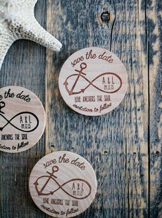 75 Custom Nautical Infinity Anchor Wood Save the Date Invite Wedding Magnet Favors - Love Anchors the Soul on Etsy, $139.57 CAD