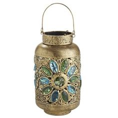 Caravan Gem Lantern - Blue & Green from Pier 1 imports. Shop more products from Pier 1 imports on Wanelo. Hanging Lanterns, Candle Lanterns, Candles, Candleholders, Tiki Torches & Oil Lamps, Morrocan Theme, Blue Green Gem, Blue Lantern, Moroccan Lanterns