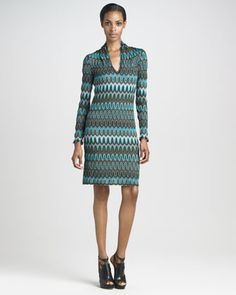 Long-Sleeve Dress by Missoni at Bergdorf Goodman. Neiman Marcus Dresses, Top Luxury Brands, Latest Fashion Dresses, Missoni, Fashion Forward, Designer Dresses, Boho Chic, Dress Outfits, High Fashion