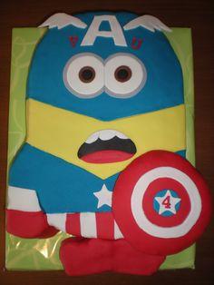 Tarta en silueta de un Minion vestido de Capitán América!!