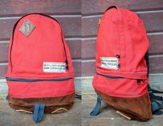 Vintage 70's Wilderness Experience Chatsworth Leather Bottom Teardrop Daypack Backpack