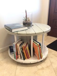 Cable Drum Coffee Table Doubles As An Adorable Bookshelf