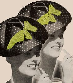 A fantastic polka dot hat from a Doublemint Chewing Gum ad, 1939. #vintage #1930s #hats #ads
