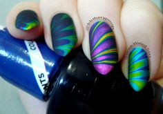 OPI Color Paints water marble, with OPI Matte Top Coat #opi #OPIColorPaints #watermarble