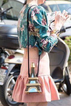 topshop: Bonjour bag-envy! This girl owns her own Eiffel tower!