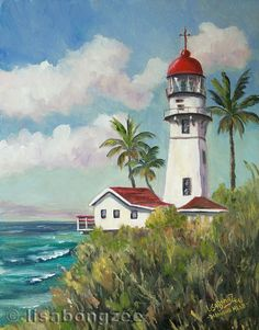 Aloha ! Welcome to my Island Dream Life.    This is one of my original oil paintings of the picturesque Diamond Head Lighthouse, located on the south shore of Oahu, Hawaii. Painting was done en plein air (outdoors, on location). Last photo shows actual painting in progress! Although it was HOT out, and I had to fight waist high weeds, it was all worth it to get a great view like this!    Painting is an original, one of a kind oil painting, not a print or reproduction. It measures 14x11 and…