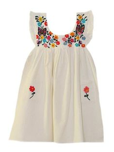 Girl's Butterfly & Flower Embroidered Mexican Dress