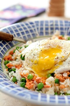 Rice and Egg Bowl with Salmon and Peas from Creative-Culinary.com #SensationalSides