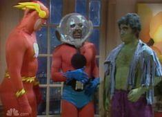 "rowsdowr: "" SNL Superhero Sketch with Bill Murray as Superman, John Belushi as Hulk, Dan Aykroyd as Flash, Garrett Morris as Ant-Man "" Garrett Morris, Superhero Sketches, Lana Lang, Bill Murray, Watch Tv Shows, Music People, Saturday Night Live, Superhero Party"